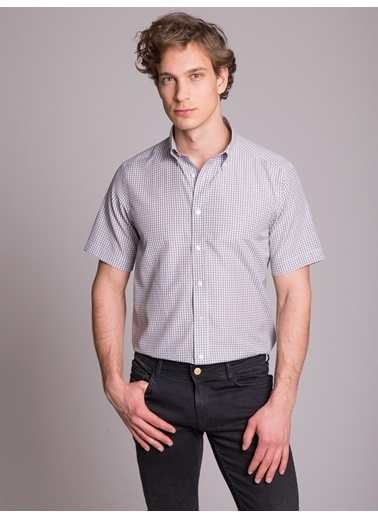 Dufy Grı Pötıkare Kısa Kol Erkek Gömlek - Regular Fıt Gri